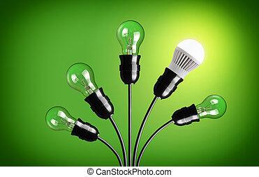 light bulbs - Idea concept with light bulbs Green background...