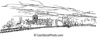 Countryside Landscape Church Vector