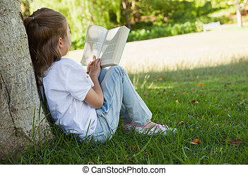 Rear view of girl reading book in park - Rear view of a...