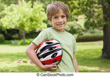 公園, 男の子, 微笑, 自転車, ヘルメット