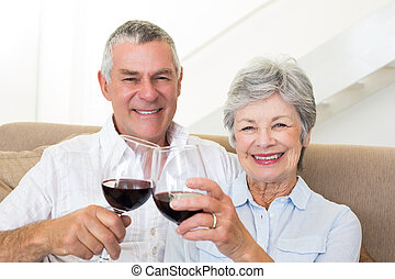 Senior couple sitting on sofa having red wine