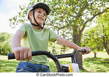男の子, 自転車, 公園, 若い, 乗馬, 微笑