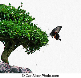 Photo of butterfly silhouette sitting on a bonsai tree, both...