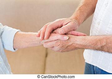 aposentado, par, Tocar, mãos