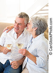 Senior couple sitting on couch having white wine at home in...