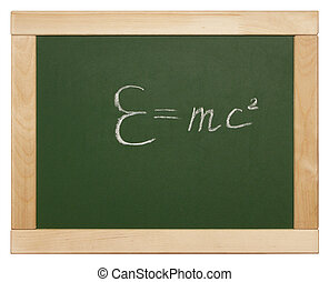 equation - Theory of relativity written on blackboard