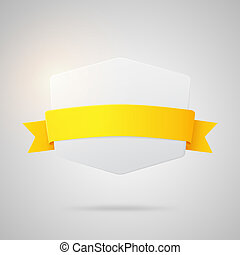 Vector paper badge with yellow golden ribbon
