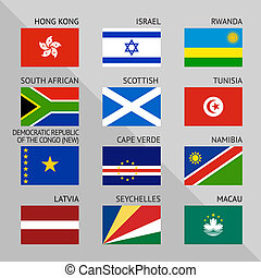 Flags of world, flat Set number 10 - Flags of world, flat...