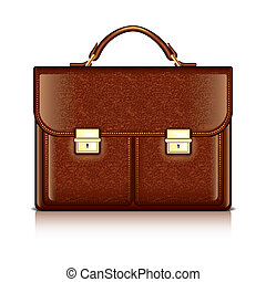 Brown leather briefcase vector illustration - Brown leather...