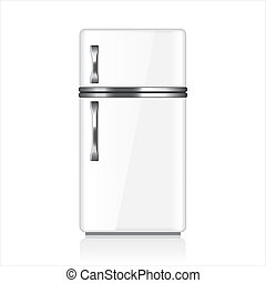 White fridge vector illustration - White fridge isolated on...