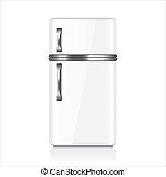 White fridge vector illustration - White fridge isolated on...
