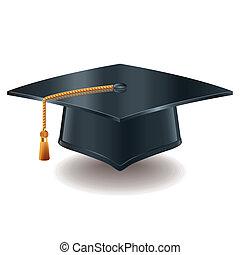 graduación, gorra, vector, Ilustración