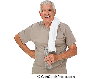 Portrait of a senior man with water bottle