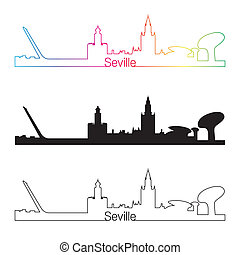 Seville skyline linear style with rainbow in editable vector...