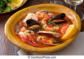 Seafood Stew - A hearty bowl of rustic mediterranean seafood...
