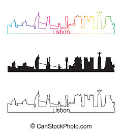 Lisbon skyline linear style with rainbow in editable vector...
