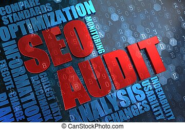 SEO Audit - Wordcloud Concept. - SEO Audit - Red Main Word...