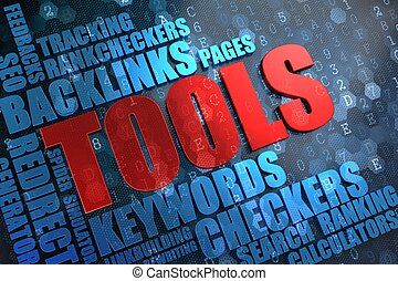 Tools - Wordcloud Concept. - Tools - Red Main Word with Blue...