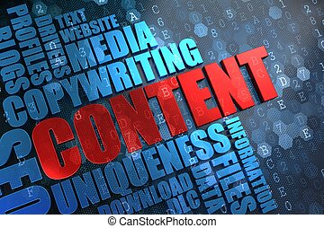 Content - Wordcloud Concept - Content - Red Main Word with...
