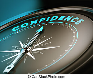 Self Confidence Concept - Compass with needle pointing the...