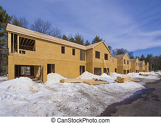 New town house construction - Exterior framing of new town...