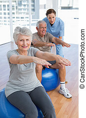 Female therapist assisting senior couple with exercises in...