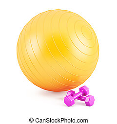Orange Fitness ball,and pink weights