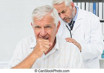 macho, 3º edad, paciente, Visitar, doctor