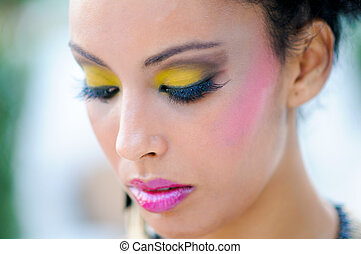 Black woman with fantasy make up - Portrait of a young black...