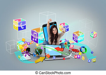 Cheering girl using laptop with app icons - Digital...