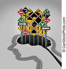 Head Question Mark - Head question mark concept as a road...