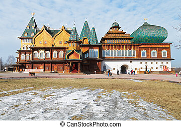 Great Wooden Palace in Kolomenskoe, Moscow - front view of...