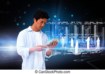 Casual man using tablet with interface - Digital composite...