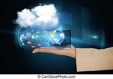 Hand presenting cloud and app icons - Digital composite of...
