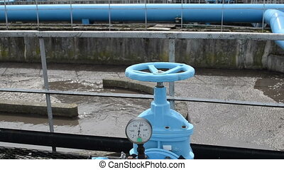 rusty tap water treatment - Panorama of blue valve gate...
