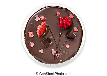 Top view of chocolate cake on white