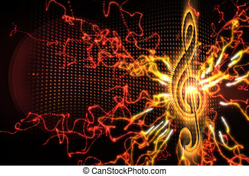 Digitally generated music background in orange