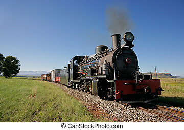 Steam locomotive - Front view of a vintage steam locomotive...