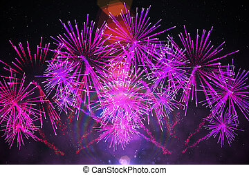 Digitally generated firework design in purple