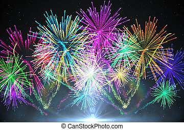 Digitally generated firework design in different colours