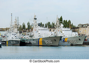 Harbour of Balaklava, Criemea, Ukraine. - Ukrainian warships...