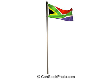South african flag on flagpole