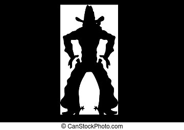Cowboy - Illustration of a silhouette of the cowboy which...