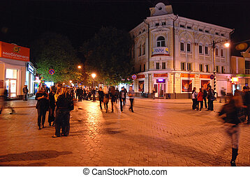 Center of Simferopol, Crimea, Ukraine - Night shot with...