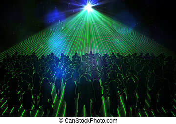 Digitally generated nightclub with people dancing