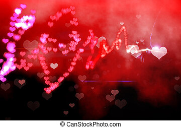Digitally generated love background in red