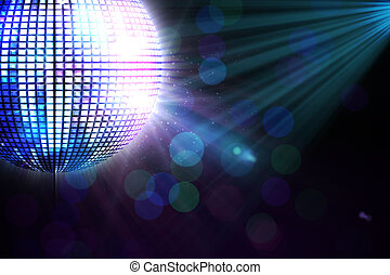 Digitally generated disco ball on black background