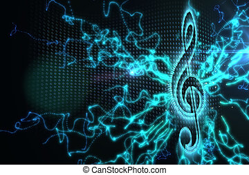 Digitally generated music background in blue