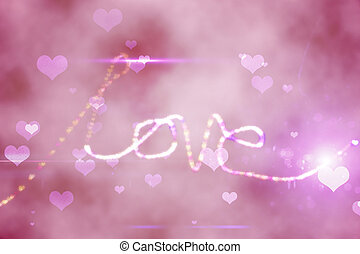 Digitally generated love background in pink