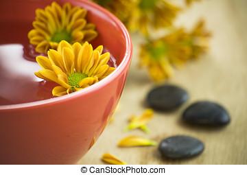 tazón, agua, flores